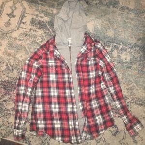Red flannel nwot fall long sleeve hoodie